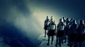 Keizer roman militairen die een slagveld onder sneeuw bekijken vector illustratie