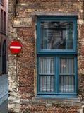 Keizer Straat. Corner of a brick building in Antwerp Royalty Free Stock Photos