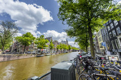 Keizersgracht运河在阿姆斯特丹,荷兰 免版税图库摄影