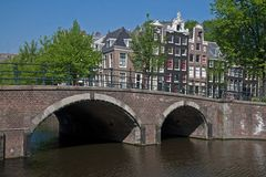 Keizersgracht in Amsterdam with bridge and canal houses Royalty Free Stock Image