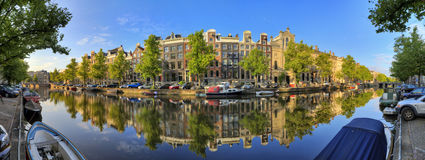 180 Keizersgracht. Beautiful 180 degree panoramic panorama of the UNESCO world heritage Keizersgracht canal  in Amsterdam, the Netherlands, on a sunny summer day Stock Images