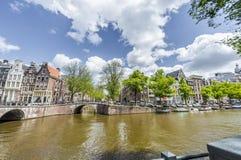 Keizersgracht kanal i Amsterdam, Nederländerna Arkivfoto