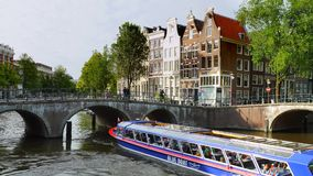 Keizersgracht and Leidsegracht in Amsterdam, Netherlands. Keizersgracht and Leidsegracht, canal with historic houses, Amsterdam, North Holland, Netherlands stock footage