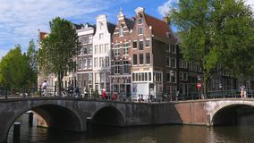 Keizersgracht and Leidsegracht in Amsterdam, Netherlands. Keizersgracht and Leidsegracht, canal with historic houses, Amsterdam, North Holland, Netherlands stock video footage