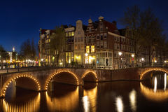 Keizersgracht at night. Night shot of the corner of Keizersgracht and Leidsegracht in Amsterdam, Netherlands Stock Photo