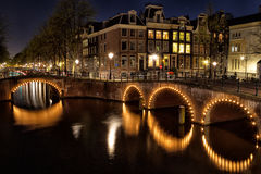 Keizersgracht at night. Night shot of the corner of Keizersgracht and Leidsegracht in Amsterdam, Netherlands Royalty Free Stock Images