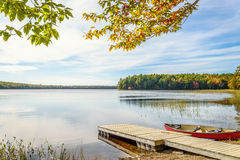 Kejimkujik lake in fall from Jeremy Bay Campground Royalty Free Stock Photography
