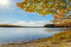 Kejimkujik lake in fall from Jeremy Bay Campground royalty free stock photos