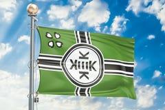 Kek Flag Kekistan waving in blue cloudy sky, 3D rendering Royalty Free Stock Photo