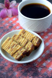 Kek Lapis- Layered Cake with coffee Royalty Free Stock Photo