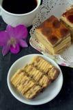 Kek Lapis- Layered Cake with coffee Stock Photography