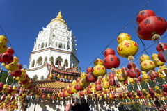 Kek Lok Si Chinese Buddhist Temple Penang Malaysia. Kek Lok Si buddhist temple and pagoda with Chinese New Year decorations for the celebration of the lunar new Stock Image