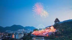 Kek Lok Si Light Up und Feuerwerk lizenzfreie stockfotografie