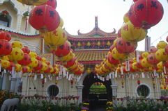 The Kek Lok Si Temple. In George town on Penang island, Malaysia decorated with colourful lanterns during Chinese New Year Royalty Free Stock Photo