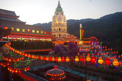 The Kek Lok Si Temple. In George town on Penang island, Malaysia with lighted lanterns during Chinese New Year Stock Photography