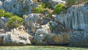 Kekova是在水下保存废墟的海岛 库存图片