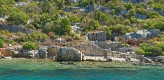 Kekova是在水下保存废墟的海岛 图库摄影