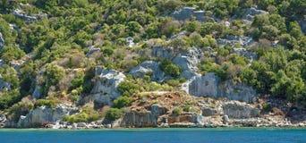 Kekova是在水下保存废墟的海岛 免版税库存图片