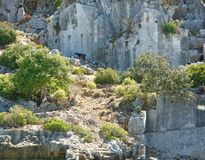 Kekova是在水下保存废墟的海岛 免版税库存照片