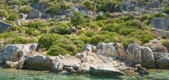 Kekova是在水下保存废墟o的海岛 库存图片