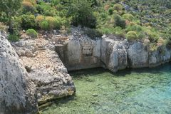 Kekova海岛和凹下去的城市Simena的废墟在安塔利亚省,土耳其 库存照片