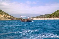Kekova, Adalia, Turchia - 26 agosto 2014: : Vista sul mare di Kekova che è una regione antica di Lycian a Adalia Fotografie Stock Libere da Diritti