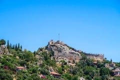 Kekova dove naufragi incavati della città antica che si è distrutta dai terremoti nello II secolo, Tukey di Dolkisthe immagini stock