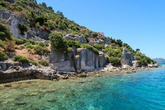 Kekova where sunken shipwrecks of Dolkisthe Antique City which was destroyed by earthquakes in the 2nd century, Tukey. Kekova is a heaven on earth where nature stock images