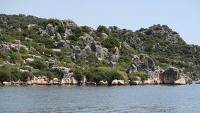 Kekova-Insel und die Ruinen der versunkenen Stadt Simena in der Antalya-Provinz, die Türkei Stockfoto