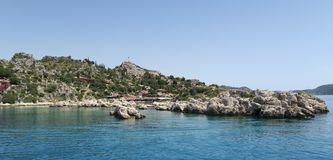 Kekova Island and the Ruins of the Sunken City Simena in the Antalya Province, Turkey Royalty Free Stock Photo