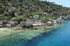 Kekova Island and the Ruins of the Sunken City Simena in the Antalya Province, Turkey Stock Photos