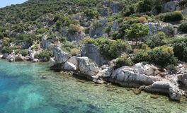 Kekova Island and the Ruins of the Sunken City Simena in the Antalya Province, Turkey Stock Images