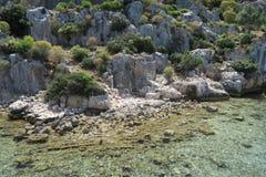 Kekova Island and the Ruins of the Sunken City Simena in the Antalya Province, Turkey Royalty Free Stock Image