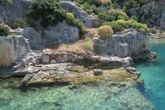Kekova Island and the Ruins of the Sunken City Simena in the Antalya Province, Turkey Royalty Free Stock Photo