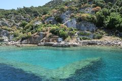 Kekova Island and the Ruins of the Sunken City Simena in the Antalya Province, Turkey. Kekova Island, Mediterranian Sea and the Ruins of the Sunken City Simena Stock Images