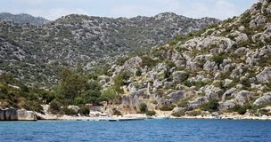 Kekova. Seaside at towns outskirts. Shows a seaside in outskirts of Kekova town, Turkey Stock Image