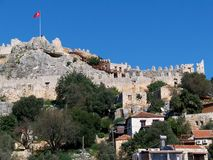 Kekova, Simena, Turkey. Image shows landscape of Kekova and Simena Castle with turkey flag Royalty Free Stock Image