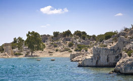 Kekova, Turkey. Partially submerged ruins from ancient Lycian civilization dating to around 200BC Stock Images