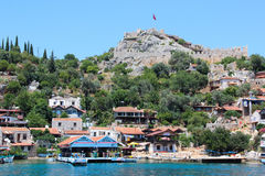 Kekova, Turkey- 2 Jun 2017: Coast of the island in the Mediterranean sea, modern picturesque village with the ruins Stock Photo