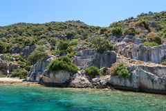 Kekova where sunken shipwrecks of Dolkisthe Antique City which was destroyed by earthquakes in the 2nd century, Tukey. Kekova is a heaven on earth where nature stock photos