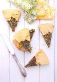 Keks mit Käse und Kräutern lizenzfreie stockbilder