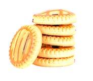 Kekse mit Cherry Jam Lizenzfreies Stockbild
