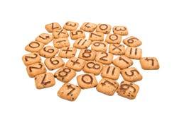 Kekse mit Zahlen lokalisiert Stockfotografie