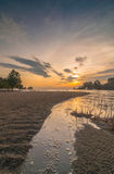 Kelanang beach sunset with curve Stock Photos