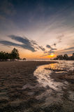 Kelanang beach sunset with curve. Recreation area near morib this kelanang beach popular for photographer when sunset is very beautiful stock photo
