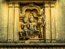 Kelaniya Temple. Detail of the wall's temple with carvings Stock Photos