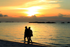 Kelayang plaża na zmierzchu zdjęcia stock