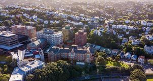 Kelburn Campus, Victoria University Aerial View. Wellington new zealand capital university and homes in golden sunset light Royalty Free Stock Photography