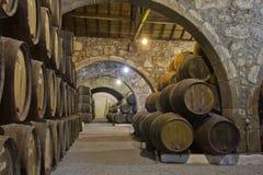 Kelder met wijnvatten Royalty-vrije Stock Foto's