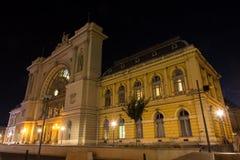 Keleti火车站在晚上在布达佩斯 免版税库存图片